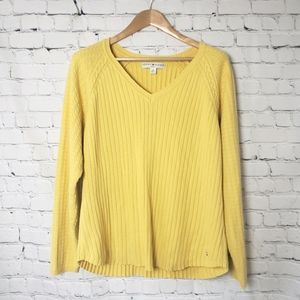 Tommy Hilfiger Yellow Cable Knit Sweater Y2K 90s